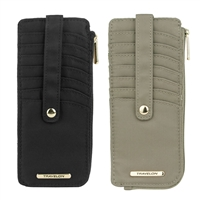Travelon F12720 848000 Set Of 2 Rfid Anti-Theft Tailored Slim Zip Wallets Sable