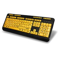 Adesso Akb-132Uy 104Key Large Type Keyboard Usb 4X Blk Print On Bright Yellow