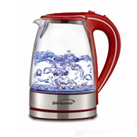 Brentwood Kt-1900R Tempered Glass Tea Kettles 1.7-Liter Red