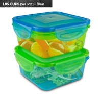 Cool Gear 1933 Gr/Bl Air Tight Food Storage Lunch Box 1.85 Cup Bpa-Free 2-Pack