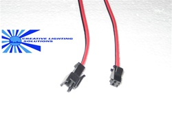 "2 Wire Molex Connector Set - 8"" Leads M-F - Locking and Keyed, Black, Red, Wires - 24 GA."