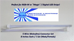 5 Wire RGB / Magic LED Molex (tm) Connector Set - 8 Inch Leads M-F - Locking and Keyed - 24 GA.