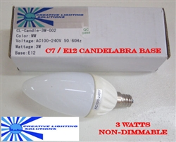 LED Candelabra Light Bulb, LED Candle Bulb - 3 Watts - Warm White