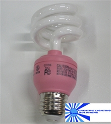 Pink Light Bulb, Pink CFL Spiral Compact Fluorescent - 13 Watts - Great for parties, dorms, garages, Easter, Holidays - Breast Cancer Awareness, Etc!