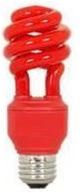 Red Party Light Bulb, Red CFL Spiral Compact Fluorescent - 13 Watts - Great for parties, dorms, garages, etc!