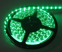Emerald Green LED Flex Strips -12vdc, IP68 WP, Double Density, White, High Output - 5M Spool