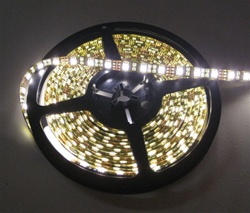 Warm White LED Flex Strips -12vdc, Waterproof, Double Density, White, High Output - 5M Spool