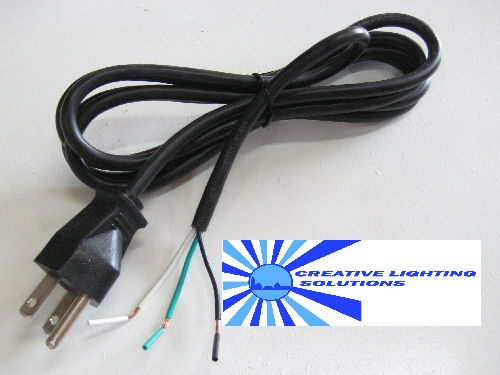 6ft, 18-3 AWG, black SVT/PVC jacketed power cord. Stripped End for ...