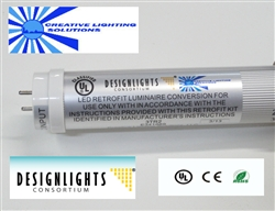 DLC LED SMD T10 Tube Light - 1850 Lumens, 4 foot, Natural White, 18 Watt, 90V-277VAC, Full Frosted Lens, Commercial Grade - UL and Design Lights Approved!