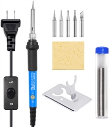 60 Watt Adjustable Soldering Iron with 63/37 10mg Solder Tube. Non Grounded tip