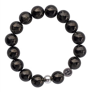 Jet & Pyrite Bracelet SHIELD - zen jewelz