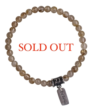 Golden Rutilated Quartz Bracelet BE HAPPY - zen jewelz
