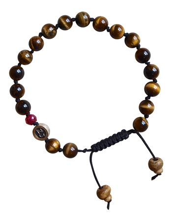 Tiger Eye Bracelet with Ruby BE BRAVE - zen jewelz