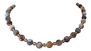 Botswana Agate & Smokey Quartz Crystal Necklace - zen jewelz