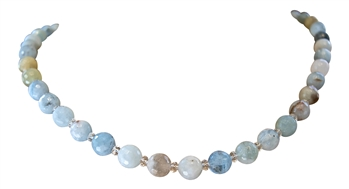 Aquamarine & Quartz Crystal Necklace - zen jewelz