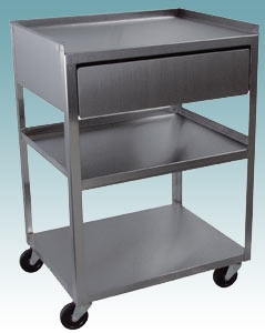 3 Shelf Stainless Steel Cart with Drawer