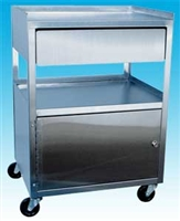 3 Shelf Stainless Steel Cart with Drawer and Cabinet