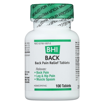 BHI Back ~ Homeopathic Back Pain Relief Tablets