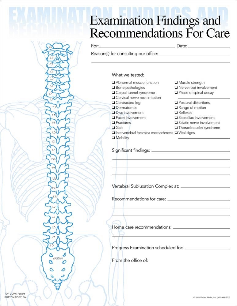 Chiropractic Exam Forms, Patient Media Chiropractic Exam Forms