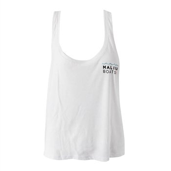 Ladies Low Crop Tank - White
