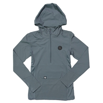 Women's 1/2 Zip Hooded Pullover - Grey