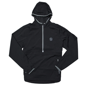 1/2 Zip Hooded Windbreaker - Black