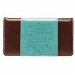 Checkbook Cover-I Can Do Everything-Turquoise/Brown: 6006937122833