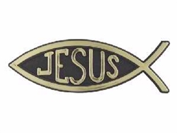 Auto Decal-3D Jesus/Fish- Small (Gold): 788200282234