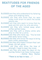 Beatitudes For Friends of the Aged