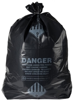 "36"" x 60"" Black ACM Waste Bags - 6 mil"
