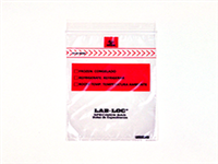 "Lab-Loc Specimen Bags with Removable Biohazard Symbol,  4""x6"""