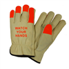 West Chester Hi-Vis Fingertips Cowhide Driver Glove