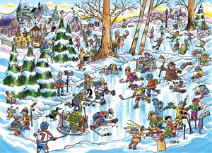 1000pc DoodleTown: Hockey Town jigsaw puzzle | 53507 | Cobble Hill Puzzle Co