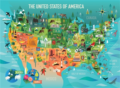 350pc The United States of America  jigsaw puzzle by Cobble Hill Puzzle Co. (mixed piece sizes)