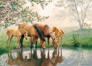 Horse Family (Family) Easy Handling 275 pc jigsaw puzzle by Cobble Hill Puzzle Co.