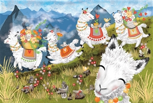 Floor Puzzle Leaping Llamas jigsaw puzzle by Cobble Hill Puzzle Co.