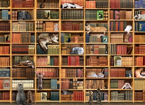 1000pc The Library Cat jigsaw puzzle by Cobble Hill Puzzle Co.