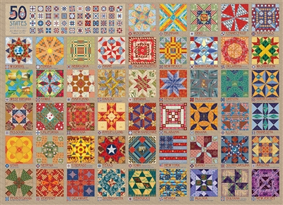 50 States Quilt Blocks 1000 Piece Puzzle by Cobble Hill Puzzle Co