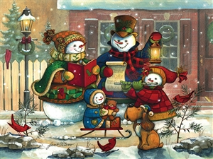 500pc Song for the Season snowman jigsaw puzzle | Cobble Hill Puzzle Company