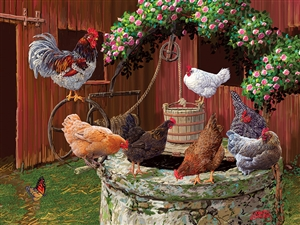 The Chickens are Well  Easy Handling 275 pc jigsaw puzzle by Cobble Hill Puzzle Co.
