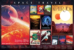 2000pc Space Travel Posters jigsaw puzzle by Cobble Hill Puzzle Co.