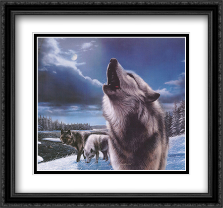 Wolves (Howling) 2x Matted 32x26 Large Gold or Black or Gold Ornate Framed Art Print by Kevin Daniel