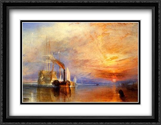 Fighting Temeraire 2x Matted 28x22 Large Gold or Black or Gold Ornate Framed Art Print by J.M.W. Turner