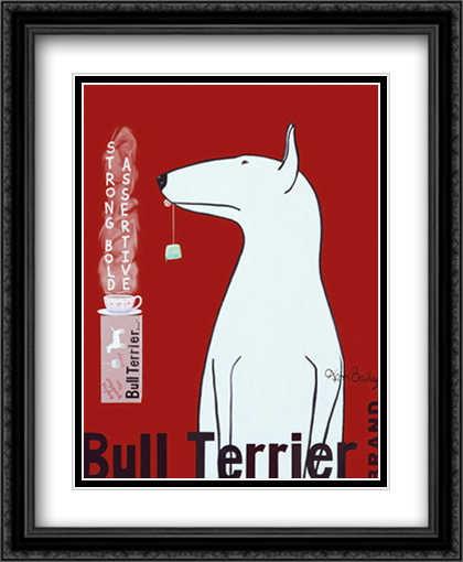 Bull Terrier Tea 2x Matted 26x32 Large Black Ornate Framed Art Print by Ken Bailey