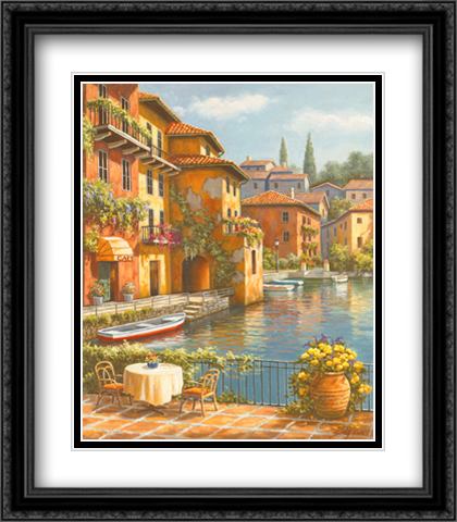 Cafe At The Canal 2x Matted 26x32 Large Gold or Black or Gold Ornate Framed Art Print by Sung Kim