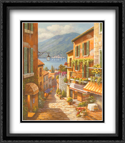 Village Steps 2x Matted 26x32 Large Gold or Black or Gold Ornate Framed Art Print by Sung Kim