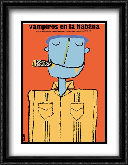 Vampires in Havana (Vampiros en la Habana) 2x Matted 24x33 Large Gold or Black or Gold Ornate Framed Art Print by Eduardo Munoz Bachs