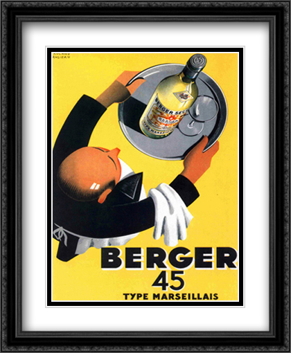 Berger 45 2x Matted 24x32 Large Gold or Black or Gold Ornate Framed Art Print by Roland Ansieau