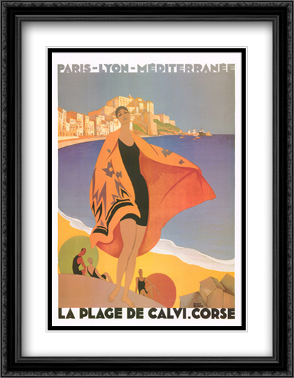Plage de Calvi 2x Matted 24x32 Large Gold or Black or Gold Ornate Framed Art Print by Rodger Broders