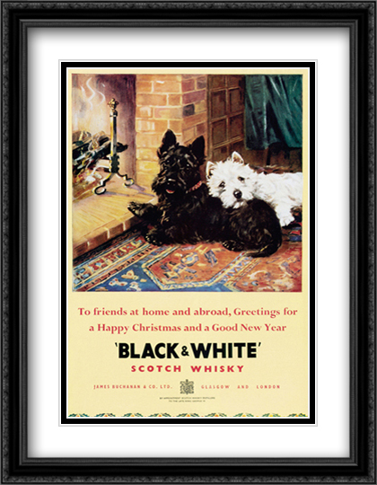 Black and White Scotch Whiskey 2x Matted 24x32 Large Gold or Black or Gold Ornate Framed Art Print